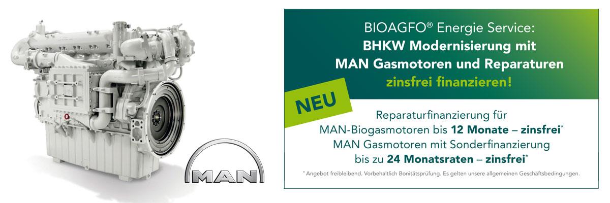 BIOAGFO® Energie Service: BHKW Modernisierung mit MAN Gasmotoren und Reparaturen
